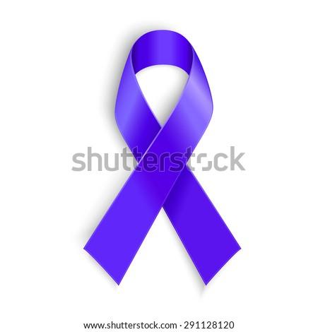 Purple ribbon. Symbol of general cancer awareness, Lupus awareness, drug overdose, domestic violence, Alzheimer disease - stock vector
