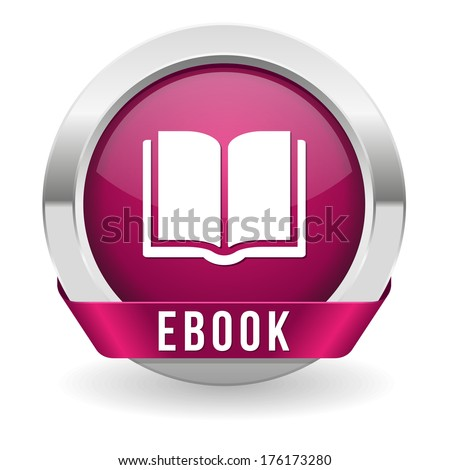 Purple round electronic book button with ribbon - stock vector