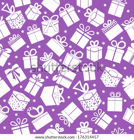 Purple seamless gift pattern. Vector background.