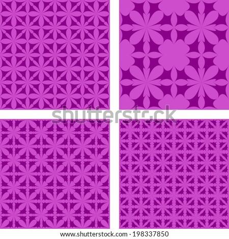 Purple seamless pattern background set - vector version - stock vector