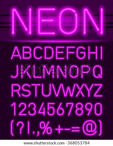 Purple set neon font and symbols isolated on black - stock vector