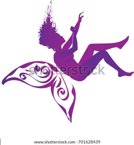 purple silhouette falling woman purple butterfly stock