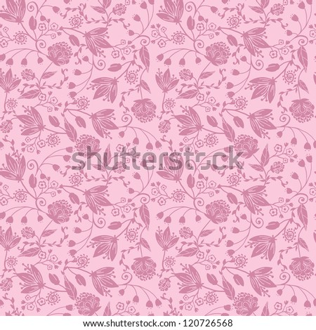 Purple silhouettes flowers seamless pattern background - stock vector