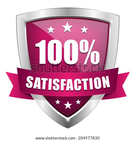 Purple silver hundred percent satisfaction badge on white background  - stock vector