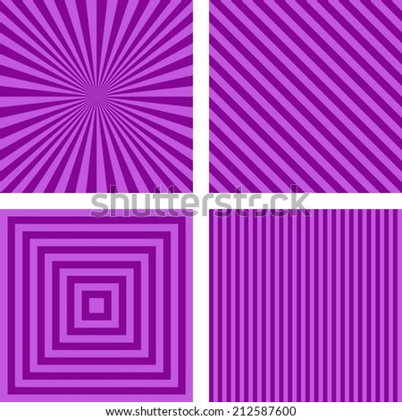 Purple simple striped wallpaper set - vector version - stock vector