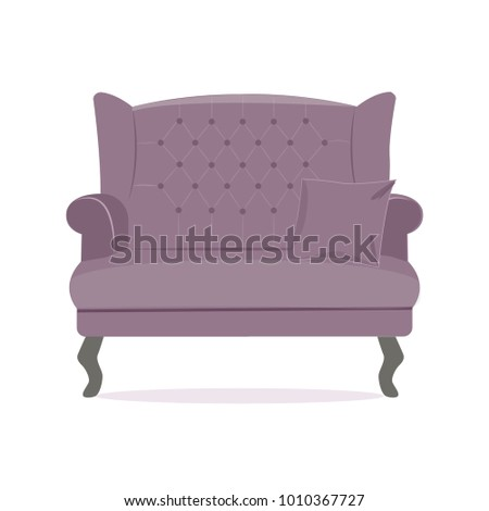 Purple stuff and wooden legs luxury sofa. Modern designer sofa. Flat vector illustration isolated on the white background.