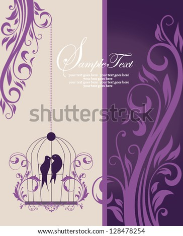 purple swirly invitation card with cage - stock vector