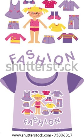 Purple T-shirt for a young child. Shows the girl in front - stock vector