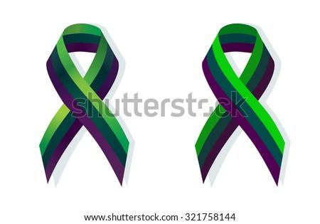 Purple teal and green ribbon Medullary sponge kidney awareness - stock vector