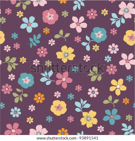 purple tiny floral seamless pattern - stock vector