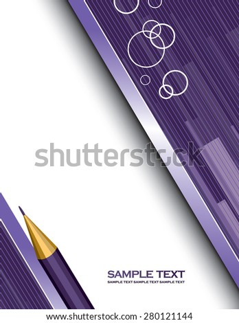 Purple Vector Background with a Notepad and a Pencil. - stock vector