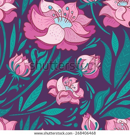Purple Vector Background with Pink Flowers | Elegant seamless pattern with flat design florals for contemporary modern textile, wallpaper and cards - stock vector