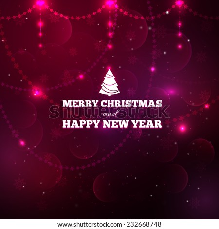 Purple vector sparkling background with glowing lights and bokehs. Text: Merry Christmas and Happy New Year. Little spruce icon.