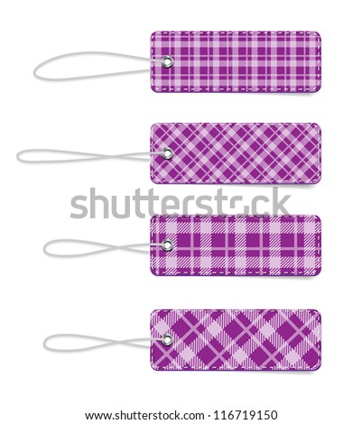 Purple vector tartan fabric textured badges with straps - stock vector