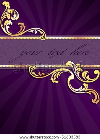 Purple vertical banner with gold filigree (Eps10); JPG version also available - stock vector
