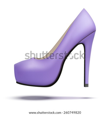 Purple vintage high heels pump shoes. Vector Illustration isolated on white background.