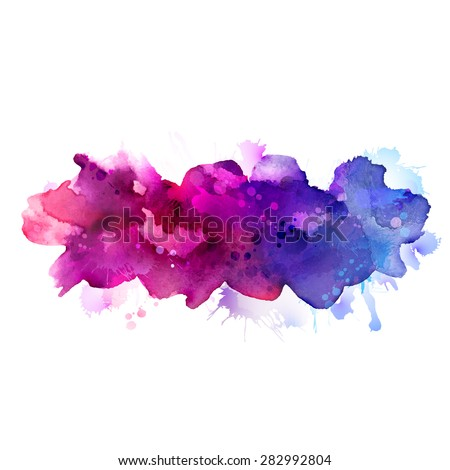 Purple, violet, lilac and blue watercolor stains  - stock vector