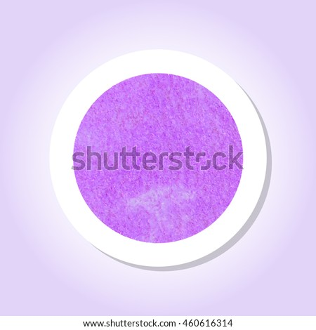 Purple watercolor texture inside a round sticker with a drop shadow and pastel background. Use for labels, speech, sale tags.  Vector EPS-10 file, transparency used.