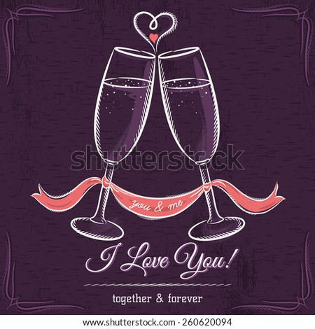 purple wedding card with two glass of wine and wishes text,  vector illustration - stock vector