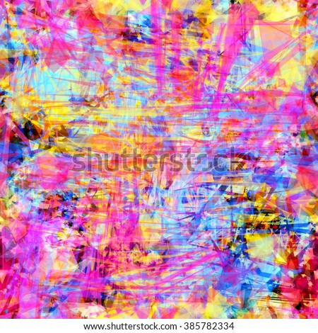 Purple, yellow, blue, azure and orange colors. Complicated seamless vector pattern. Easy editable. Blots stain and scratches, scribble - stock vector