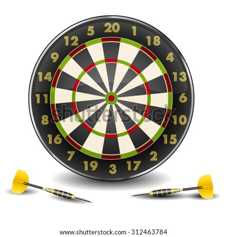 Purpose and beautiful darts isolated on white background - stock vector