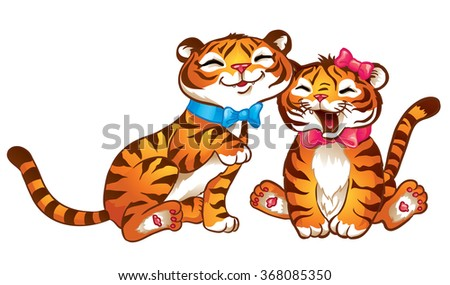 Purring tigers, a boy and a girl. Isolated on white background.