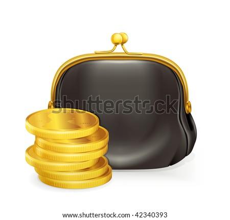 Purse and coins, vector - stock vector