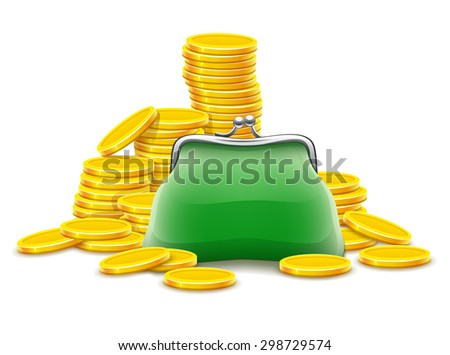 Purse and gold coins cash money. Eps10 vector illustration. Isolated on white background - stock vector