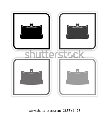 Purse  - grayscale vector icon - stock vector