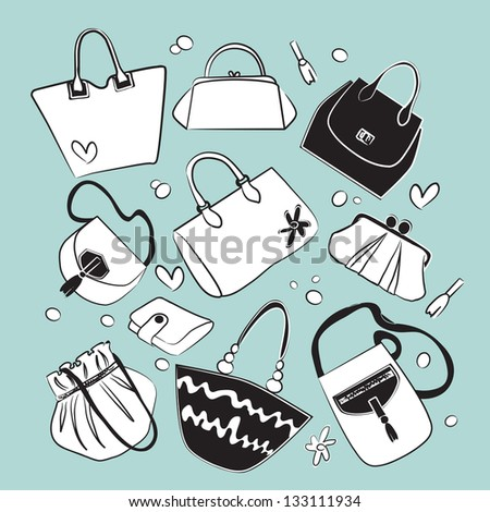 purse set,vector - stock vector