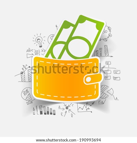 purse with business formulas - stock vector