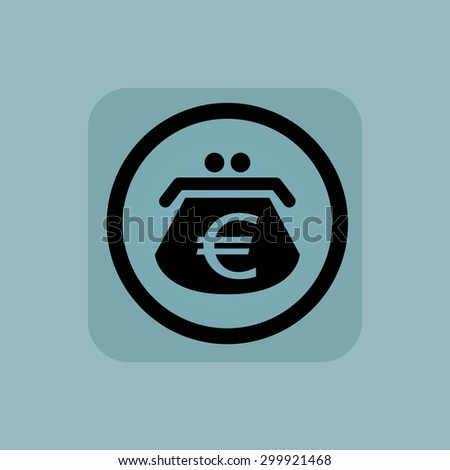 Purse with euro symbol in circle, in square, on pale blue background - stock vector