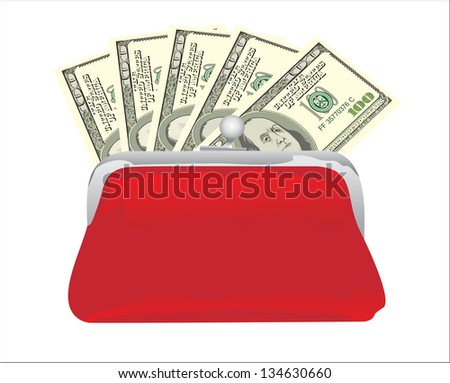 Purse with hundred dollar banknote isolated on white background cutout - stock vector