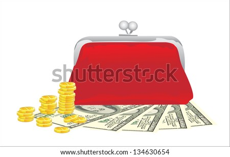 Purse with money on a white background - stock vector