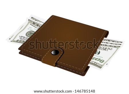 purse with money on a white background