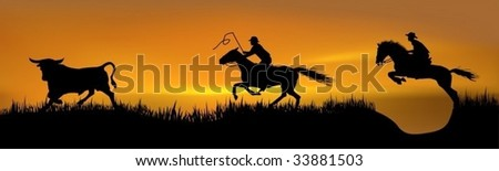 Pursuit of 2 cowboys for a young bull - stock vector