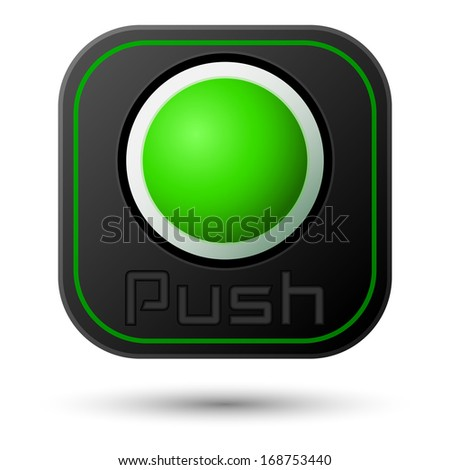Push button isolated on white. Vector illustration - stock vector