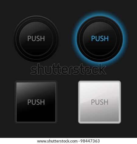Push button. Keyboard black buttons on black background. Useful for web design (websites). Vector illustration