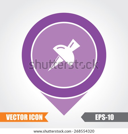 Push Pin Icon On Map Pointer. Eps.-10. - stock vector
