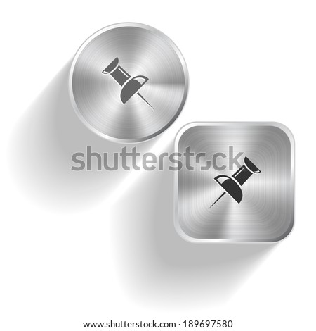 Push pin. Vector set steel buttons - stock vector
