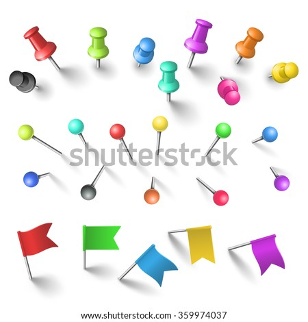 Push pin stock images royalty free images vectors shutterstock push pins set pronofoot35fo Image collections