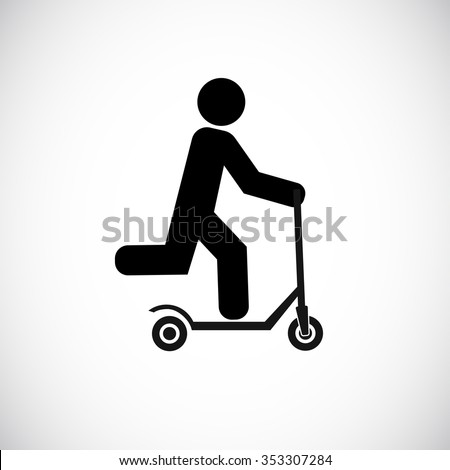 push scooter with man icon - stock vector