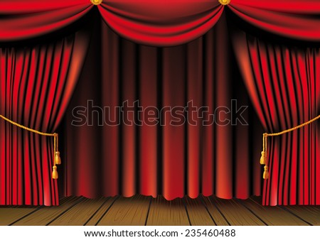 Push The Red Theater Curtain With Tassels And Cord And Wooden Platform