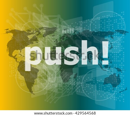 push word on digital touch screen interface vector illustration - stock vector