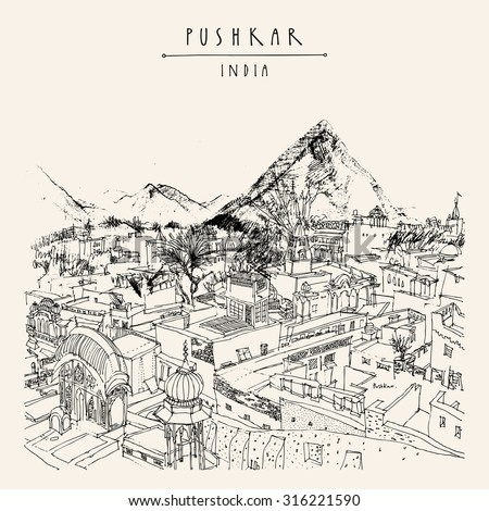 Pushkar, Rajasthan, India. Vintage artistic drawing on paper. Travel sketch. Poster, postcard template in vector with Pushkar India hand lettering - stock vector