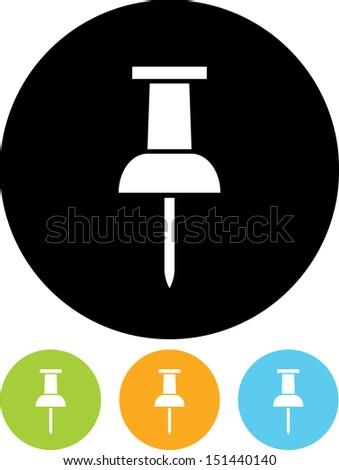 Pushpin vector icon   - stock vector