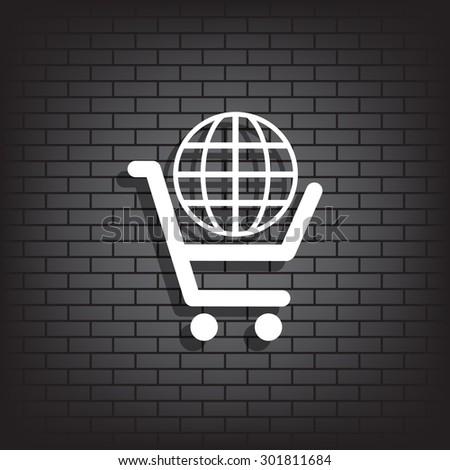 put in shopping cart, Globe. icon. vector design - stock vector
