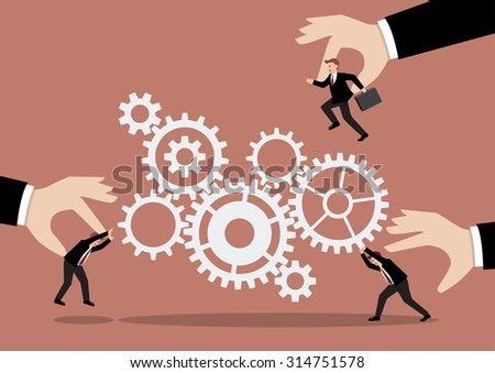 Put the right man on the right job. Business concept with mechanism system - stock vector