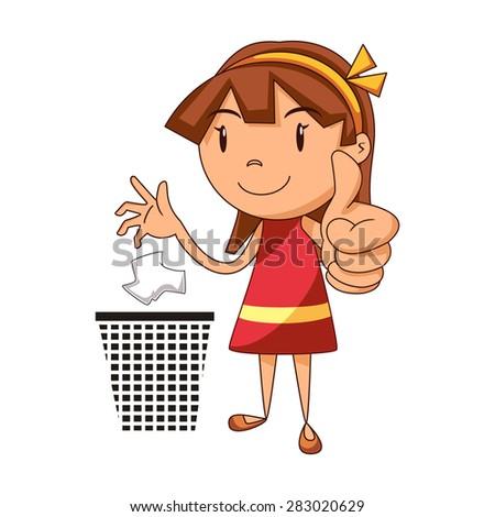 Put Trash Place Girl Vector Illustration Stock Vector ...