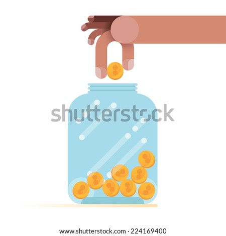 Putting a coin in bottle - stock vector